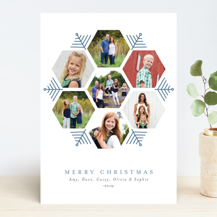 """""""Hexagon Holiday"""" - Holiday Photo Cards in Frozen by Beth Schneider."""