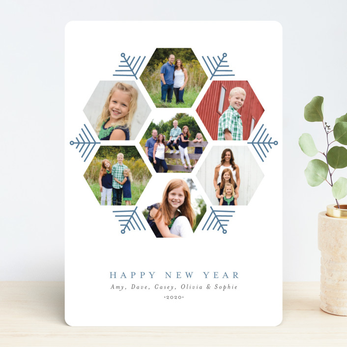 """Hexagon Holiday"" - Holiday Photo Cards in Frozen by Beth Schneider."
