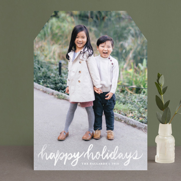 """Hand Lettered Merry"" - Holiday Photo Cards in Marshmallow by Kristen Smith."