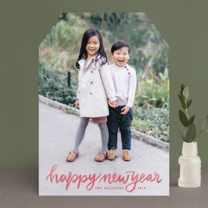 """""""Hand Lettered Merry"""" - Holiday Photo Cards in Marshmallow by Kristen Smith."""