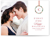 This is a red holiday photo card by Amy Kross called First of Many with standard printing on smooth signature in standard.