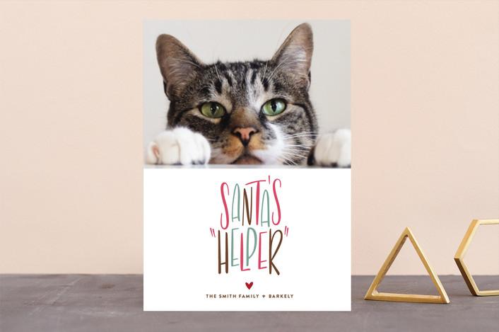 """Santa's Helper"" - Holiday Photo Cards in Blitzen by Three Kisses Studio."