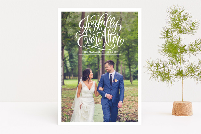 """Joyfully Ever After"" - Holiday Photo Cards in Snow by Laura Bolter Design."
