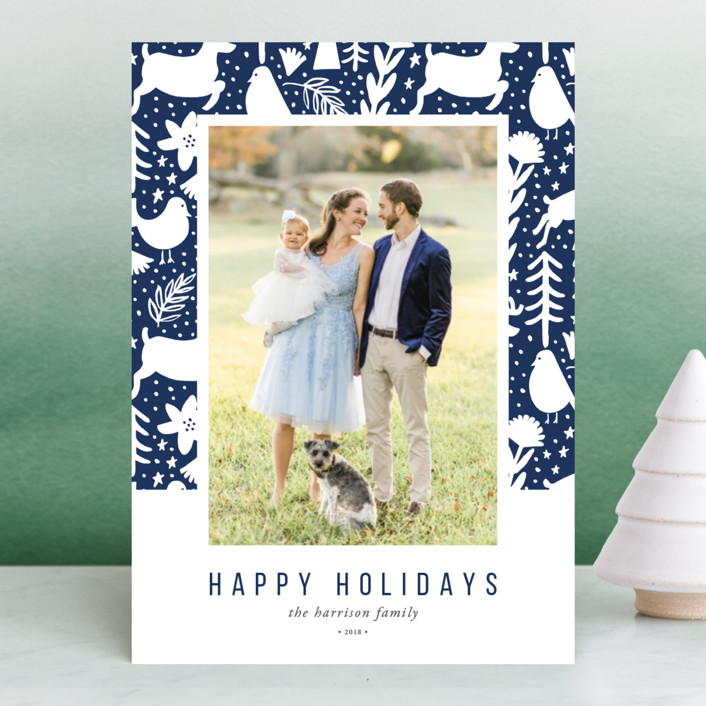 """Scandi Holiday"" - Bohemian Holiday Photo Cards in Navy by Beth Schneider."