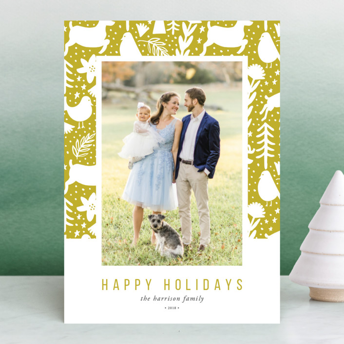 """""""Scandi Holiday"""" - Bohemian Holiday Photo Cards in Artichoke by Beth Schneider."""