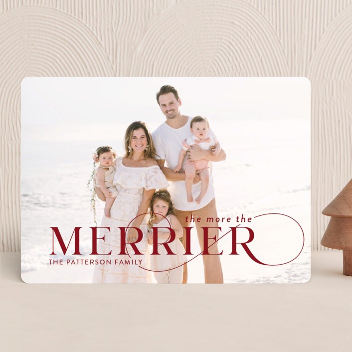 """""""More and Merrier"""" - Holiday Photo Cards in Cherry by Yaling Hou Suzuki."""