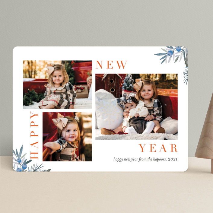 """""""Magazine Collage"""" - Holiday Photo Cards in Pomegranate by Petra Kern."""