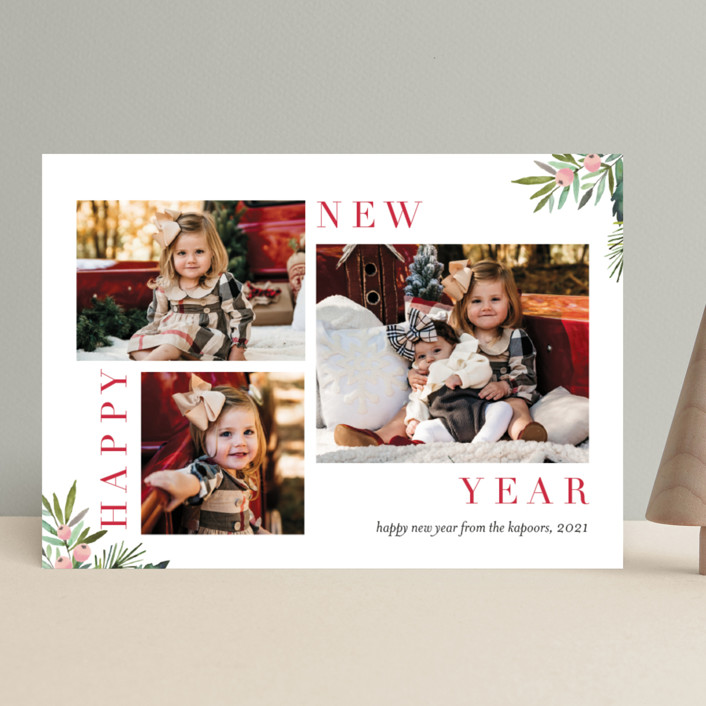 """Magazine Collage"" - Holiday Photo Cards in Cranberry by Petra Kern."