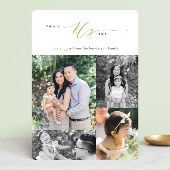 """This is Us"" - Holiday Photo Cards in Evergreen by Simona Camp."