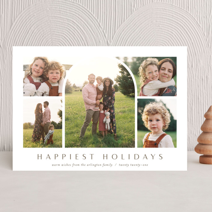 """Arch Collage"" - Modern Holiday Photo Cards in Nutmeg by Ekko Studio."