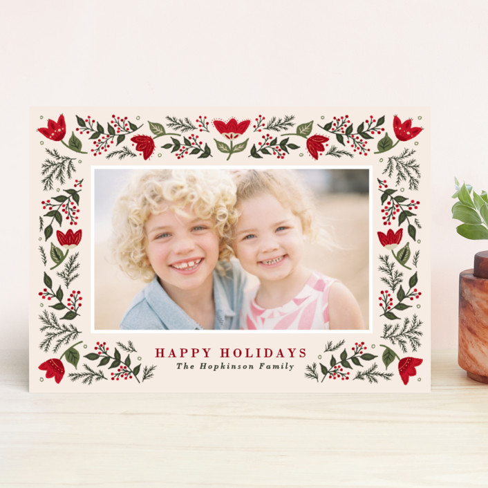 """Festive Folk"" - Holiday Photo Cards in Winterberry by Meagan Christensen."