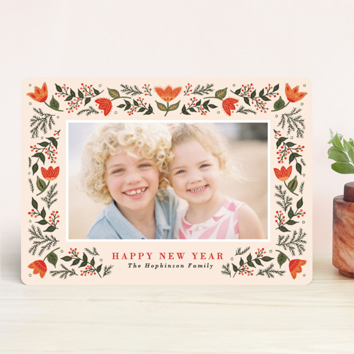 """""""Festive Folk"""" - Holiday Photo Cards in Persimmon by Little Words Design."""