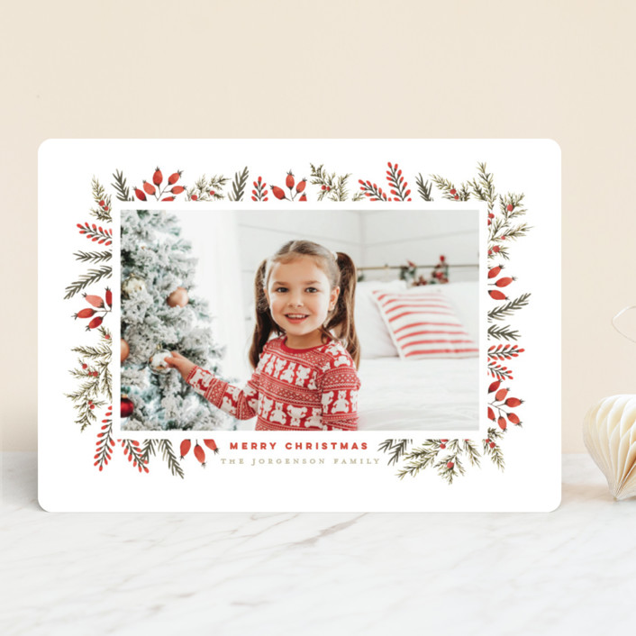 """""""Pine + Berries Border"""" - Holiday Photo Cards in Holly Berry by Wildfield Paper Co.."""