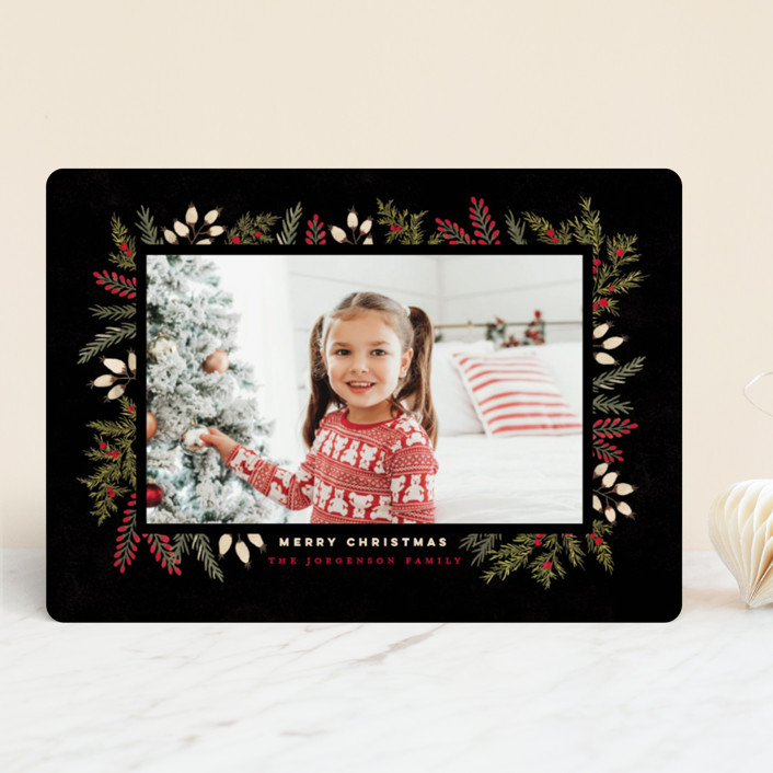 """""""Pine + Berries Border"""" - Holiday Photo Cards in Coal by Wildfield Paper Co.."""
