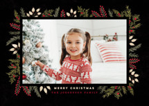 Pine + Berries Border Holiday Photo Cards By Wildfield Paper Co.