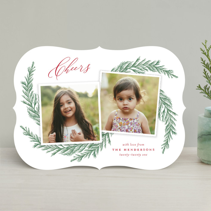 """""""Festive Pine Boughs"""" - Holiday Photo Cards in Cardinal by Katherine Moynagh."""
