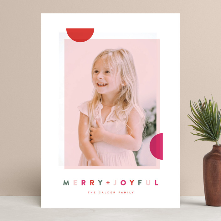 """Modern Dot"" - Modern Holiday Photo Cards in Berry by Oscar & Emma."