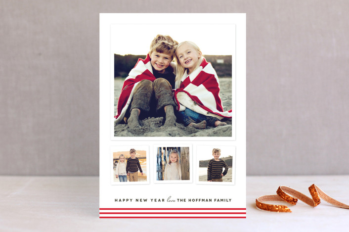 """""""Modern Candy Stripes"""" - Holiday Photo Cards in Candy Cane by Kimberly Morgan."""