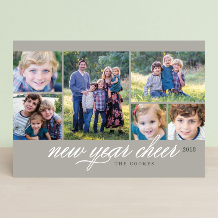 """Photo Block"" - Holiday Photo Cards in Smoke by Jill Means."