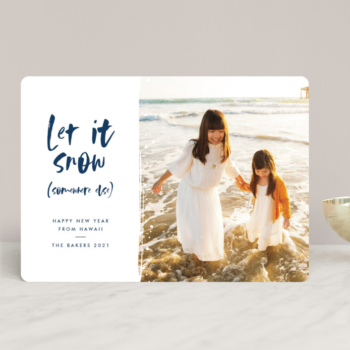 """""""Snow Somewhere Else"""" - Funny Holiday Photo Cards in Marine by Lehan Veenker."""