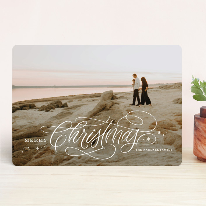 """Elegant Script"" - Holiday Photo Cards in Snowflake by Kristen Smith."