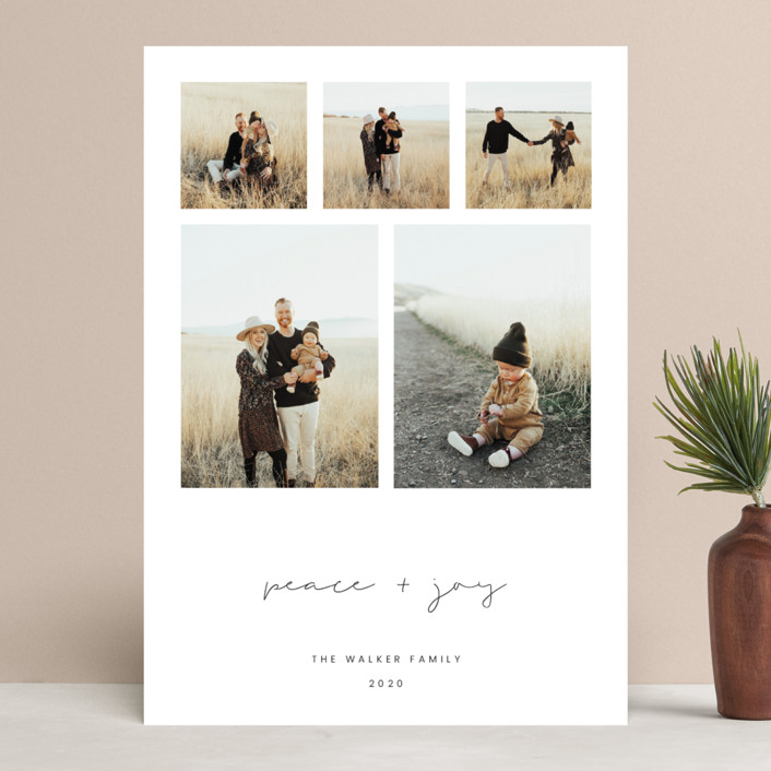 """""""Peace & Joy"""" - Holiday Photo Cards in Charcoal by Blustery August."""