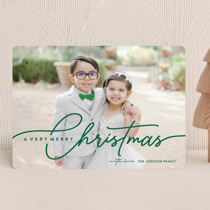 """""""Calligraphic Script"""" - Holiday Photo Cards in Evergreen by Nam Bourassa."""