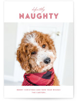 This is a red holiday photo card by Brandy Folse called Definitely Naughty with standard printing on smooth signature in standard.