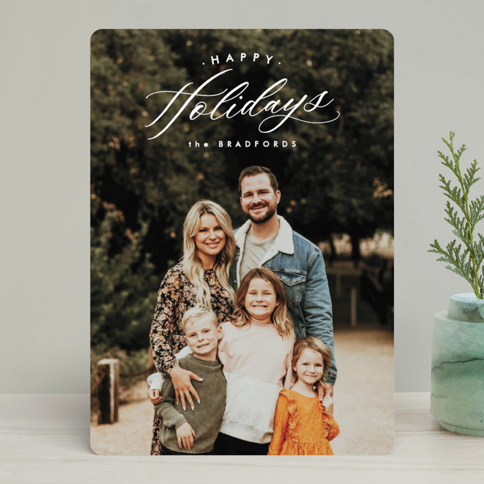 """""""Oblique"""" - Holiday Photo Cards in Lace by Ink and Letter."""