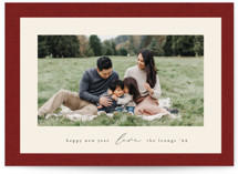 This is a red holiday photo card by Ekko Studio called Classic Frame with standard printing on smooth signature in standard.