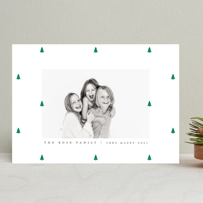 """Preppy Little Trees"" - Holiday Photo Cards in Pine by Up Up Creative."