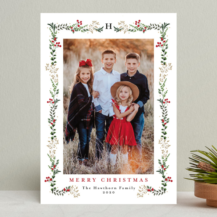 """""""Holly Vine"""" - Holiday Photo Cards in Pine by Susan Moyal."""
