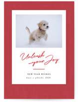 This is a red holiday photo card by Kate Ross called Unleash with standard printing on smooth signature in standard.
