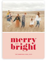 This is a pink holiday photo card by Kristen Smith called Cheerful Merry with standard printing on smooth signature in standard.