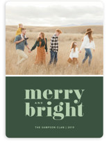 This is a green holiday photo card by Kristen Smith called Cheerful Merry with standard printing on smooth signature in standard.