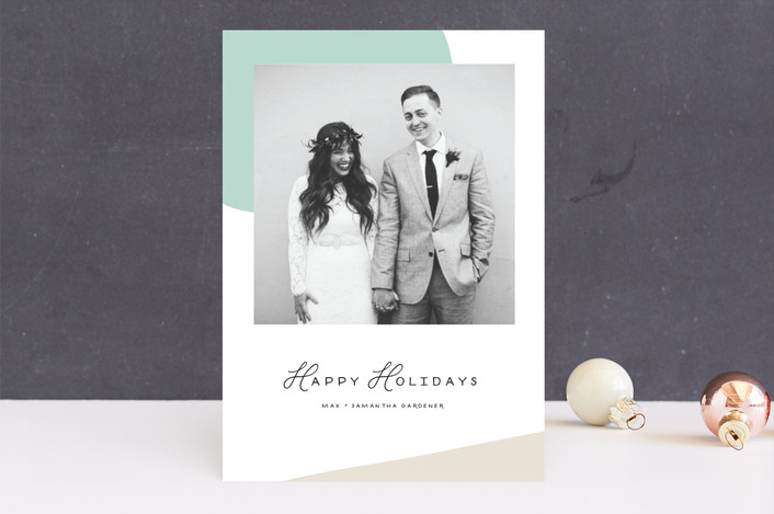 """Simple Shapes"" - Modern Holiday Photo Cards in Mint by June Letters Studio."