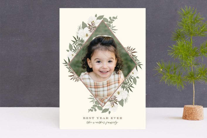 """""""Gilded Diamond Blooms"""" - Holiday Photo Cards in Cream by Grace Kreinbrink."""