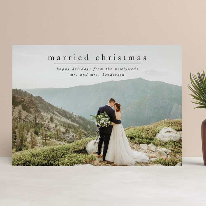 """First Married Christmas"" - Holiday Photo Cards in Coal by Ashlee Townsend."