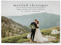 This is a black holiday photo card by Ashlee Townsend called First Married Christmas with standard printing on smooth signature in standard.