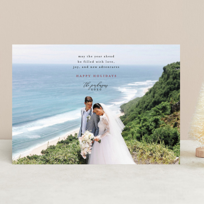 """""""Love, Joy, and New Adventures"""" - Holiday Photo Cards in Cerise by Heather Cairl."""