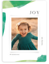 This is a green holiday photo card by Kristie Kern called Painted Edges with standard printing on smooth signature in standard.