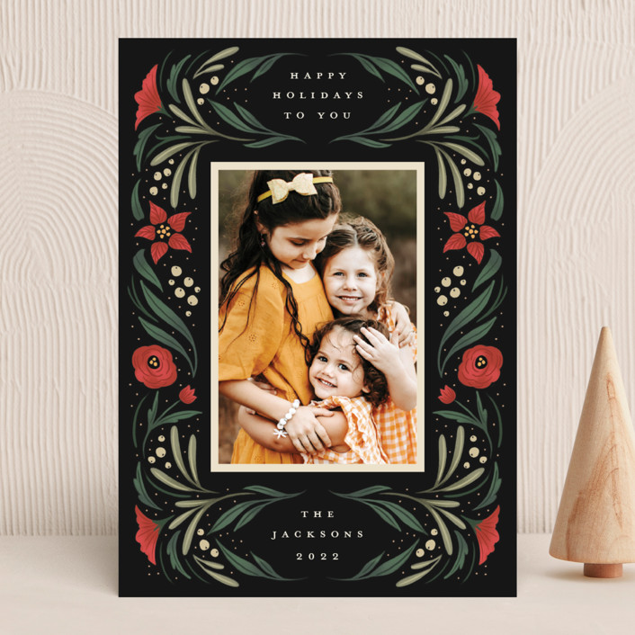 """""""Happy Holiday Frame"""" - Holiday Photo Cards in Pine by Grae."""