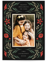 This is a green holiday photo card by Grae called Happy Holiday Frame with standard printing on signature in standard.
