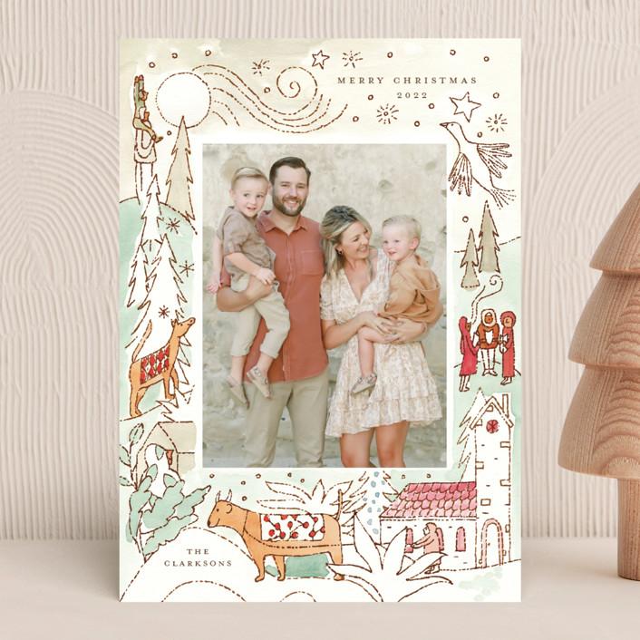 """Cheerful Season"" - Bohemian Holiday Photo Cards in Seafoam by Morgan Ramberg."