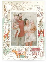This is a green holiday photo card by Morgan Ramberg called Cheerful Season with standard printing on signature in standard.
