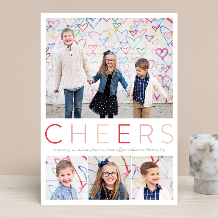 """Simple Joyful"" - Holiday Photo Cards in Cherry by Petra Kern."