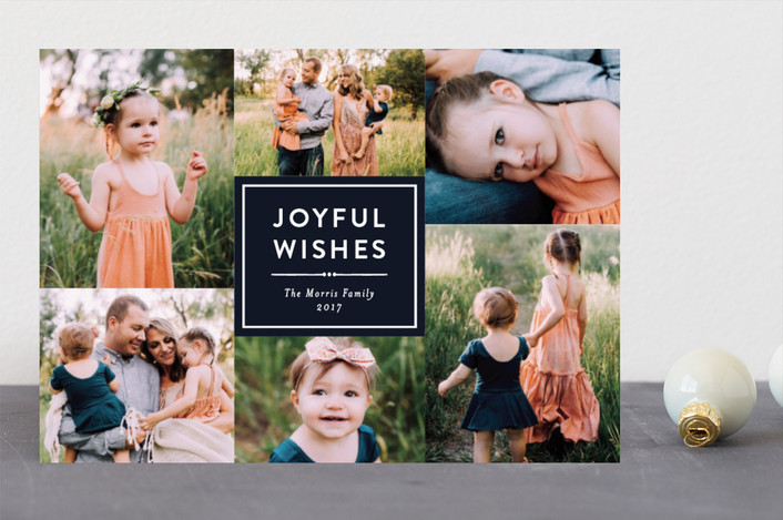 """Joyful Wishes Collage"" - Holiday Photo Cards in Navy by Katherine Moynagh."