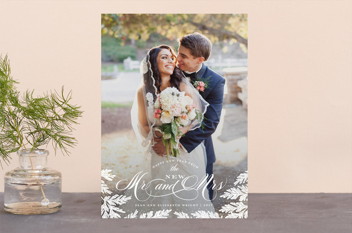 """""""New Mr and Mrs"""" - Holiday Photo Cards in Snow by Sarah Guse Brown."""