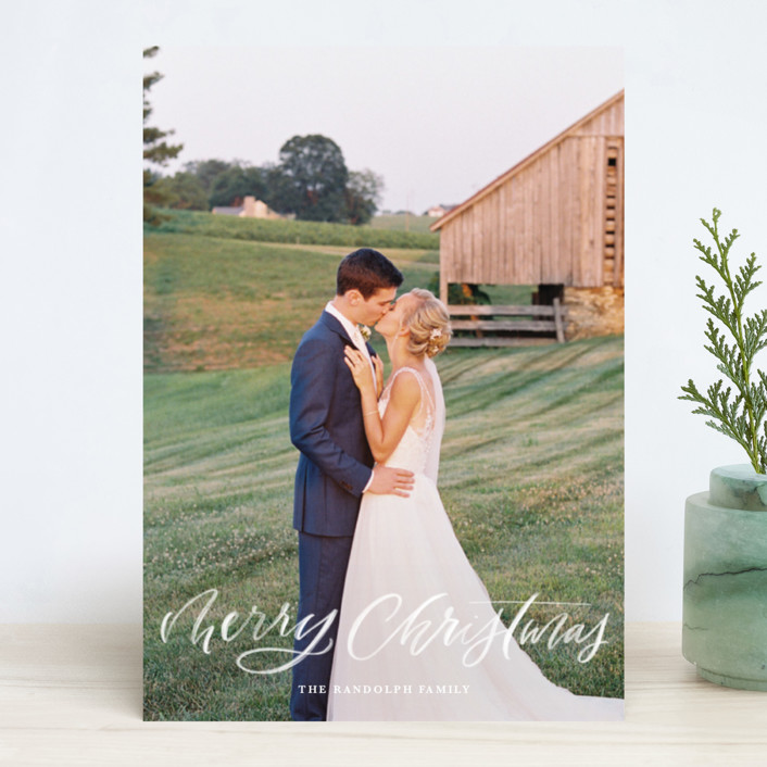 """""""Brushy Script"""" - Holiday Photo Cards in Snow by Kristen Smith."""