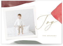 This is a red holiday photo card by Kristie Kern called Shapes with standard printing on smooth signature in standard.